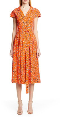 Lela Rose Floral Print Midi Shirtdress