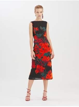 Oscar de la Renta Tufted Rose Fil Coupe Cocktail Dress