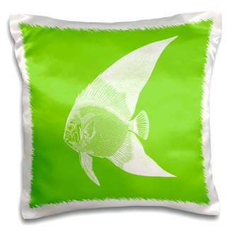 3dRose Bright Green tropical fish - Exotic modern sea ocean aquatic biology - Pillow Case, 16 by 16-inch