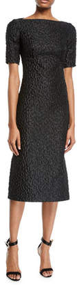 Brandon Maxwell Short-Sleeve Leopard-Jacquard Midi Sheath Cocktail Dress