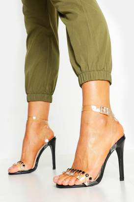 boohoo Embellished Clear Strap 2 Part Heels
