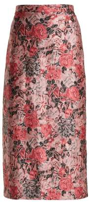 Erdem Maira Rose Jacquard Pencil Skirt - Womens - Pink Multi