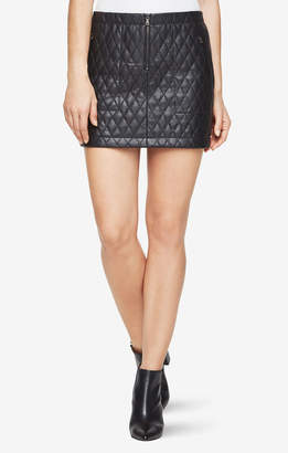 BCBGMAXAZRIA Dotty Quilted Faux-Leather Skirt