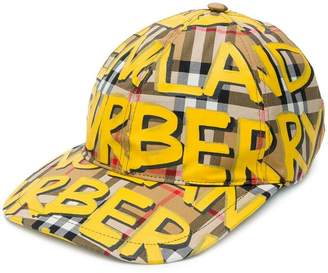 Burberry graffiti-print vintage check baseball cap
