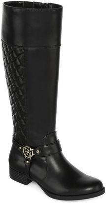 LIZ CLAIBORNE Liz Claiborne Trina Quilted Riding Boots - Wide Calf, Wide Width $120 thestylecure.com