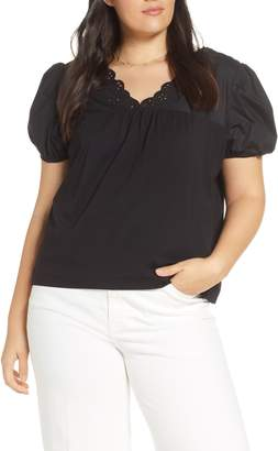 J.Crew Eyelet Top with Puff Sleeves