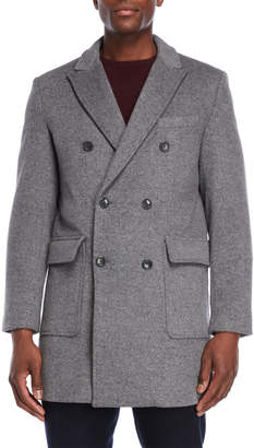 Michael Kors Double-Breasted Slim Fit Peacoat
