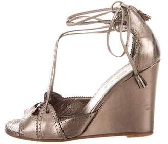 Hermes Metallic Leather Wedges