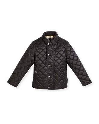 Burberry Luke Quilted Snap-Front Jacket, Black, Size 4-14 $250 thestylecure.com