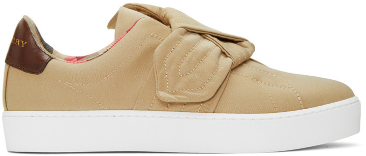 Burberry Beige Westford Knot Slip-On Sneakers