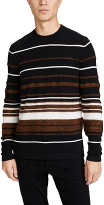 Theory Hilles Crew Neck Cashmere Striped Sweater