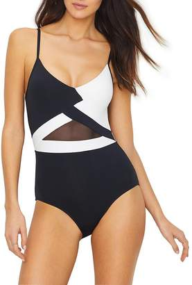 Anne Cole Women's Mesh V Neck Sexy One Piece Swimsuit
