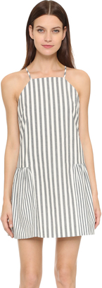 Milly Breton Stripe Ruffled Hem Dress $335 thestylecure.com