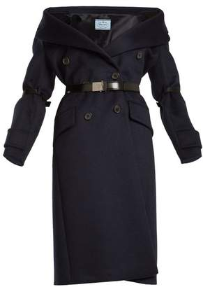 Prada Off The Shoulder Wool Blend Coat - Womens - Navy
