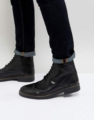 Frank Wright Military Lace Up Boots In Hi Shine Black