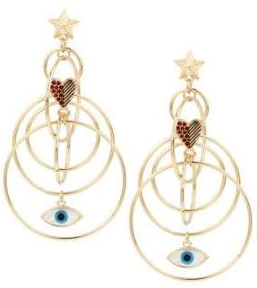 BCBGeneration Modern Mystic Heart & Eye Charm Multi Ring Earrings