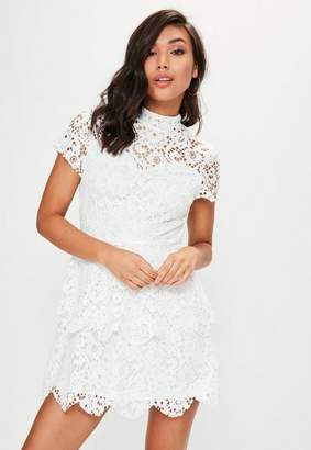 Missguided White Short Sleeve Double Layer Skater Dress