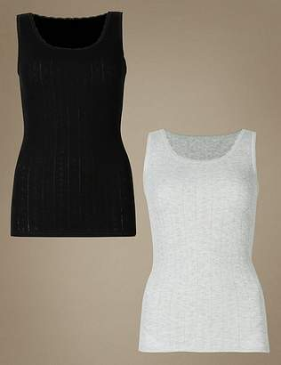 Marks and Spencer 2 Pack Thermal Built-up Shoulder Vests