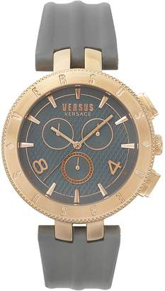 Versus By Versace Men's 'LOGO GENT CHRONO' Quartz Stainless Steel and Leather Casual Watch, Color:Grey (Model: S76110017)