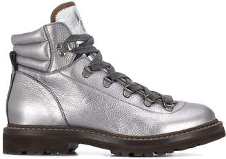 Brunello Cucinelli metallic work boots