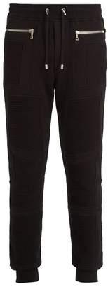 Balmain Slim Leg Biker Track Pants - Mens - Black