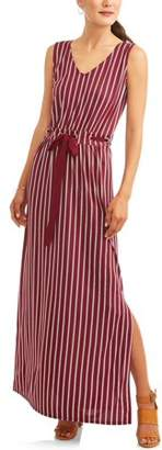 Wrapper Women's Vertical Stripe Tie Waist Maxi