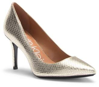 Calvin Klein Gayle Shiny Snake Embossed Leather Pump