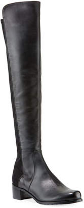 Stuart Weitzman Reserve Leather Stretch-Back Over-the-Knee Boots