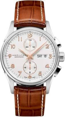 Hamilton Jazzmaster Maestro Automatic Chronograph Leather Strap Watch, 41mm