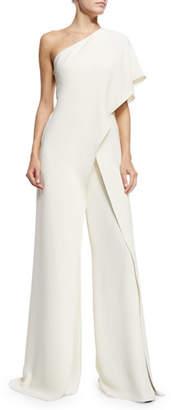 Ralph Lauren One-Shoulder Silk Crepe Jumpsuit, Ivory