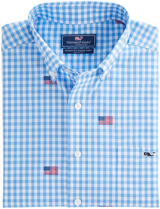 Vineyard Vines Gingham Flag Classic Tucker Shirt