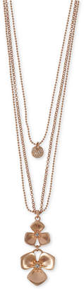 """Lucky Brand Rose Gold-Tone Crystal Flower Layered Statement Necklace, 26"""" + 2"""" extender"""