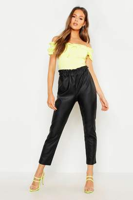 a522336ca3c2c2 boohoo Paperbag Waist Leather Look PU Trouser