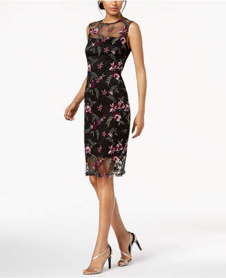 Calvin Klein Floral-Embroidered Illusion Dress