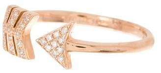 Ef Collection 14K Rose Gold Pave Diamond Arrow Ring - Size 7 - 0.08 ctw