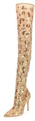 Gianvito Rossi Leopard Sequined Metallic Mesh Over-The-Knee Boots