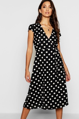 boohoo Boutique Polka Dot Wrap Dress