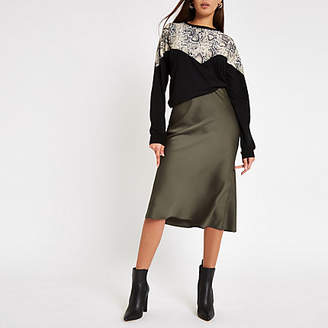 River Island Khaki bias cut midi skirt