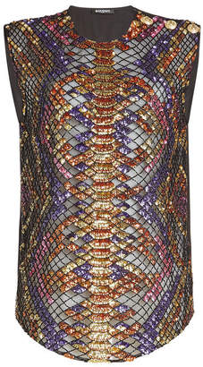 Balmain Sequin and Bead Embellished Sleeveless Top