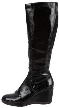 Aquatalia Patent Leather Wedge Boots