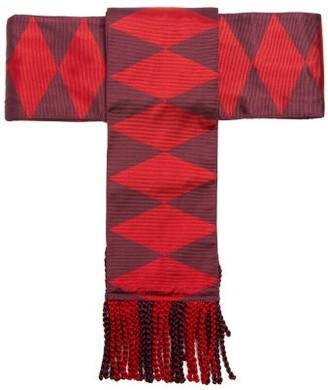 Etro - Fringed Geometric Jacquard Silk Belt - Womens - Red
