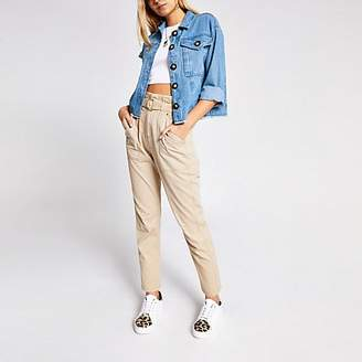 River Island Blue denim button cropped shacket