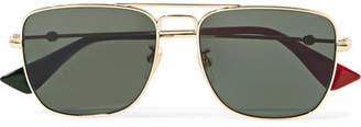 Gucci Square-frame Gold-tone Sunglasses - one size