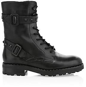 Ash Women's Witch Rockstud-Trim Leather Combat Boots