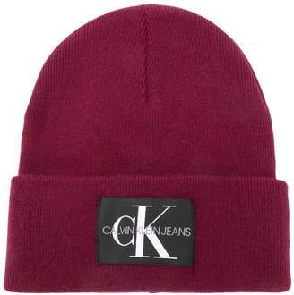 Calvin Klein Jeans logo patch beanie