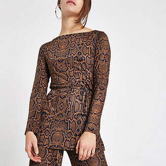 River Island Womens Petite brown snake print belted tunic