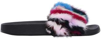 Colors of California 20mm Patchwork Mink Fur Slide Sandals