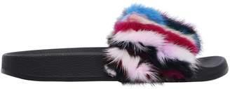 Colors of California 20mm Patchwork Mink Fur Slide Sandals