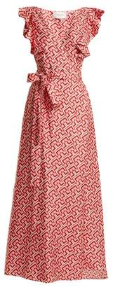 La DoubleJ Wedding Guest Domino Print Cotton Dress - Womens - Red Multi