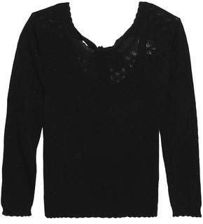 Claudie Pierlot Moustache Tie-Back Pointelle-Knit Sweater